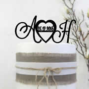 Cake signs, toppers and plaques personalised - Wedding  - Initials with Large heart