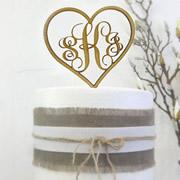 Cake signs, toppers and plaques personalised - Wedding  - Monogram Initials in heart
