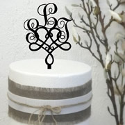 Cake signs, toppers and plaques personalised - Wedding  - Monogram Swash