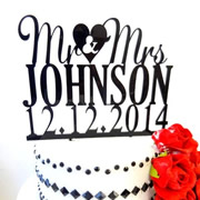 Cake signs, toppers and plaques personalised - Wedding  - Personalised With Date 3 Lines