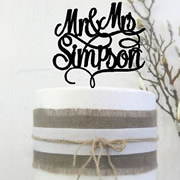 Cake signs, toppers and plaques personalised - Wedding  - Scripted MR&Mrs Surname