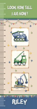 Personalised Canvas Growth Chart - Diggers