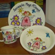 CUSTOM ORDER FOR CASEY Handpainted Plate Set - Child's Breakfast garden girl Set with medium size plate