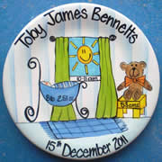 Handpainted Personalised Plate - Basinette Baby Boy