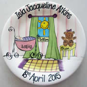 Handpainted Personalised Plate - Bassinette Baby Girl