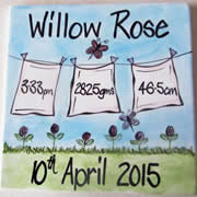 Handpainted Personalised Plate - Birth Detail Nappy