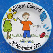 Handpainted Personalised Plate - Boy in Garden