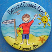 Handpainted Personalised Plate - Boy on the beach