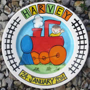 Handpainted Personalised Plate - Choo Choo Train