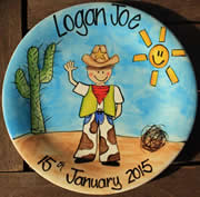 Handpainted Personalised Plate - Cowboy