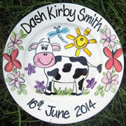 Handpainted Personalised Plate - Cute Mooo Cow