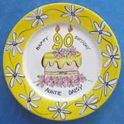 Handpainted Personalised Plate - Daisy Birthday Cake