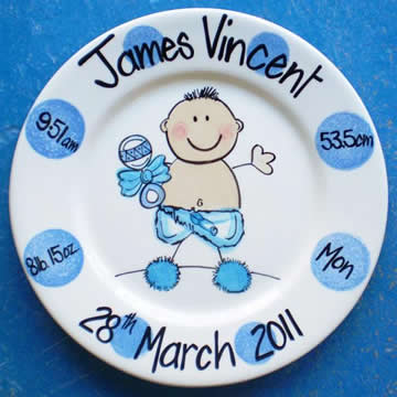 Handpainted Personalised Plate - Dotty Baby Boy