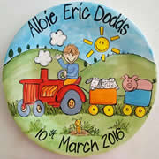 Handpainted Personalised Plate - Farm Boy with Animals
