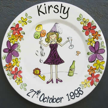 Handpainted Personalised Plate - Flowers Birthday Girl