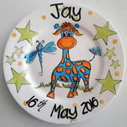 Handpainted Personalised Plate - Giraffe Fun