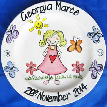 Handpainted Personalised Plate - Girl and Butterflies
