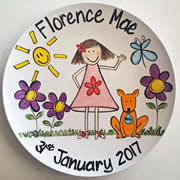 Handpainted Personalised Plate - Girl in Garden with dog