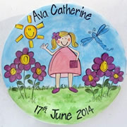 Handpainted Personalised Plate - Girl in the Garden