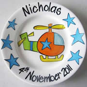 Handpainted Personalised Plate - Helicopter