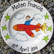 Handpainted Personalised Plate - In a plane