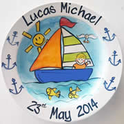 Handpainted Personalised Plate - Junior Sailor