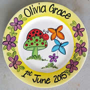 Handpainted Personalised Plate - Lady Bird and Butterflies