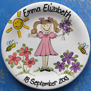 Handpainted Personalised Plate - Miss Busy Bee