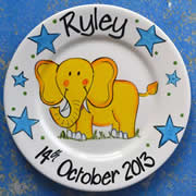 Handpainted Personalised Plate - Mr Elephant