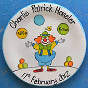 Handpainted Personalised Plate - Mr Juggles the Clown