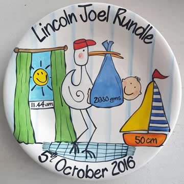 Handpainted Personalised Plate - Newborn Stork Baby Boy