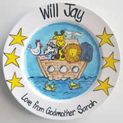 Handpainted Personalised Plate - Noah's Ark