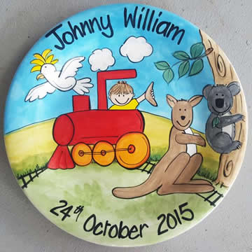 Handpainted Personalised Plate - Outback Train
