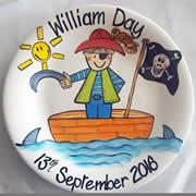 Handpainted Personalised Plate - Pirate
