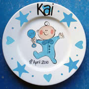 Handpainted Personalised Plate - PJ Baby Boy