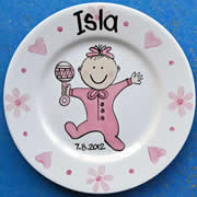 Handpainted Personalised Plate - PJ Baby Girl
