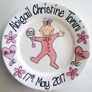 Handpainted Personalised Plate - PJ Baby Girl with details