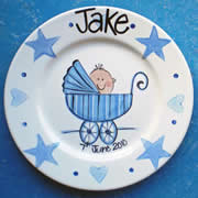 Handpainted Personalised Plate - Pram Baby Boy