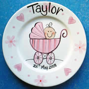 Handpainted Personalised Plate - Pram Baby Girl