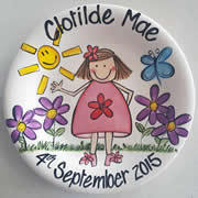 Handpainted Personalised Plate - Red Flower Girl