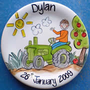 Handpainted Personalised Plate - Tractor Boy