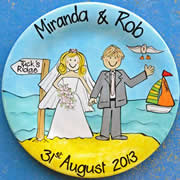 Handpainted Personalised Wedding Plate - Beach Wedding