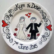Handpainted Personalised Wedding Plate - Black & White Swirls
