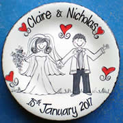 Handpainted Personalised Wedding Plate - Black & White Wedding
