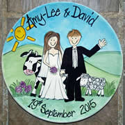 Handpainted Personalised Wedding Plate - Country Wedding