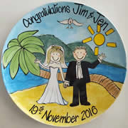Handpainted Personalised Wedding Plate - Island Beach Wedding