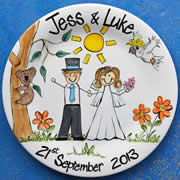Handpainted Personalised Wedding Plate - Too cute Aussie Wedding