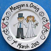 Handpainted Personalised Wedding Plate - Too cute Bride & Groom