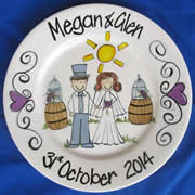 Handpainted Personalised Wedding Plate - Too cute Vineyard Wedding