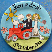 Handpainted Personalised Wedding Plate - Tractor Wedding